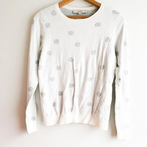 Loft Polka Dot Crew Neck Sweater